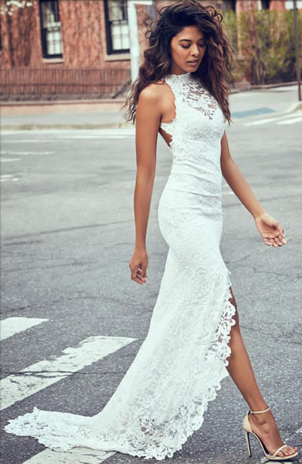 Sexy Lace Long Wedding Dresses Mermaid High Slit Bridal Gowns Backless