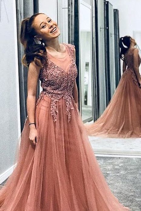Pink Long Prom Dress with Embroidery Top,long prom dress