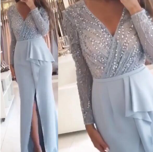 Light Blue Satin Prom Dresses Beaded Long Evening Dresses V Neck Full Sleeves