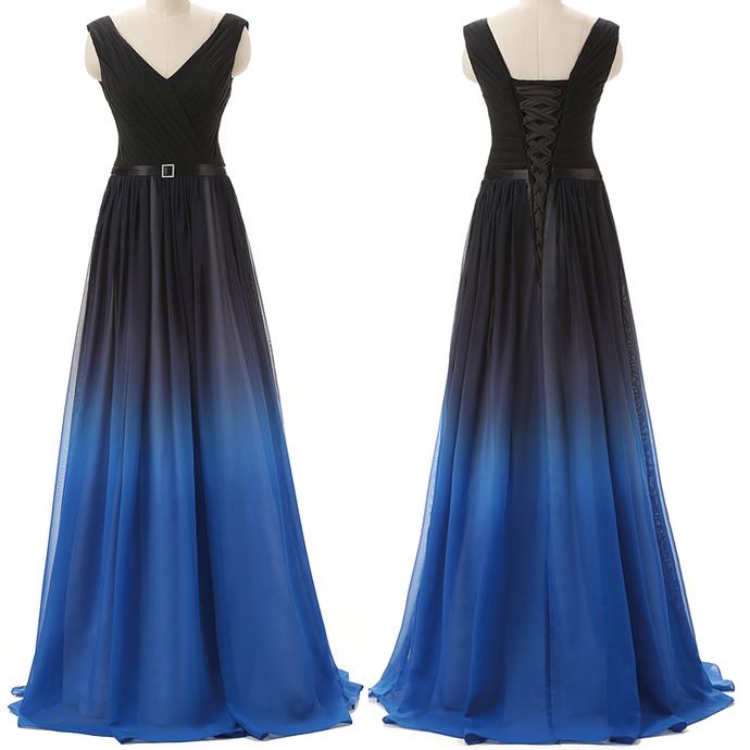 Gradient Chiffon Prom Dresses Long Cheap A-line Evening Dresses Sleeveless V