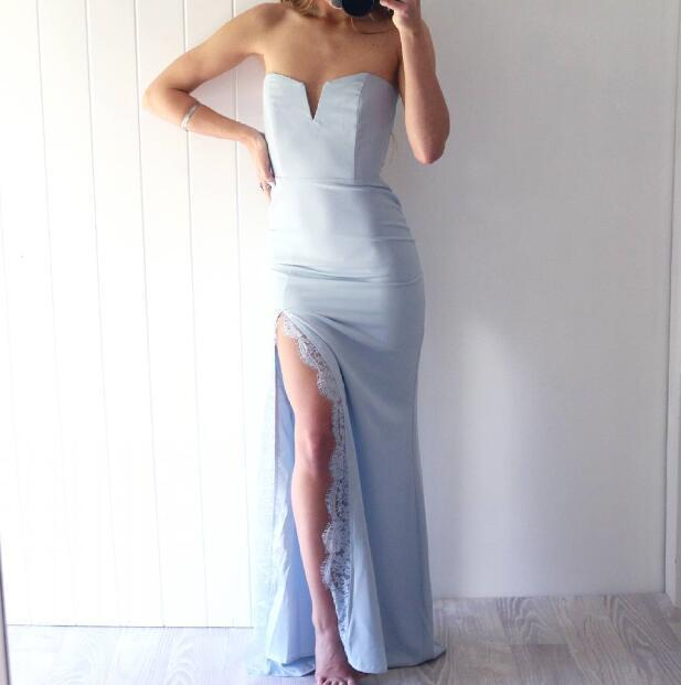 Blue Satin Sheath Prom Dresses Long Sexy Evening Dresses Strapless Formal Gowns