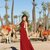 Red Chiffon Prom Dresses A-line Long Evening Dresses V Neck Formal Gowns Side