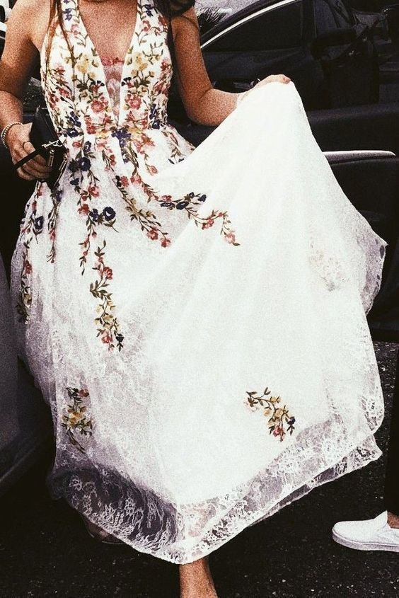 A Line V Neck Sleeveless Prom Dress with Appliques, Cheap Party Dresses