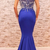 Modest Royal Blue Prom Party Dresses Mermaid Heavy Crystal Satin Red Carpet