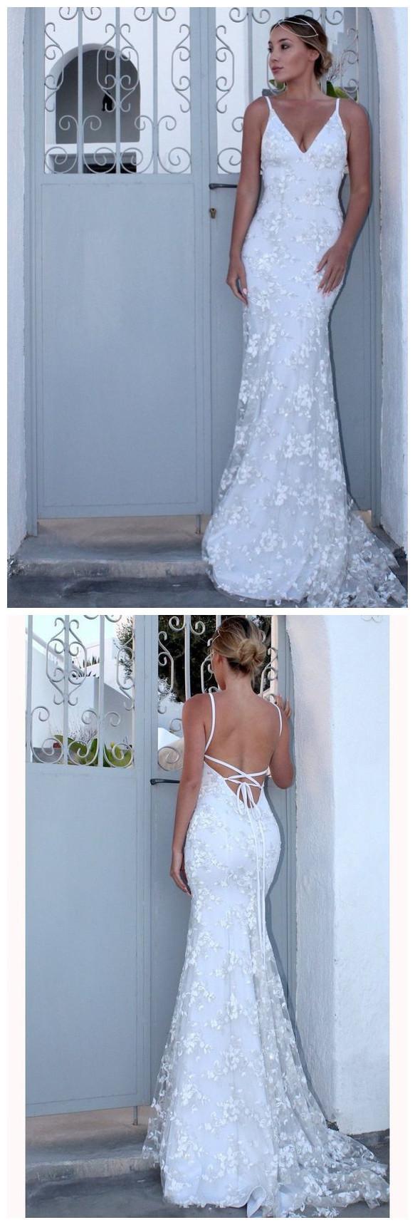 White Spaghetti Strap V Neck Mermaid Prom Dress, Sexy Backless Lace Prom Dress