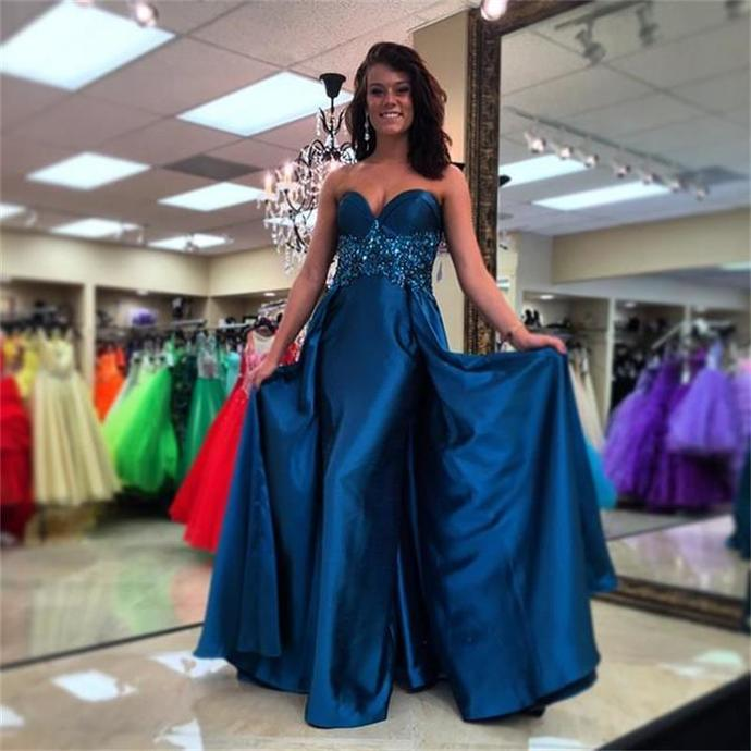 Dark Blue Satin Prom Dresses Long A-line Sleeveless Beaded Sweetheart Evening
