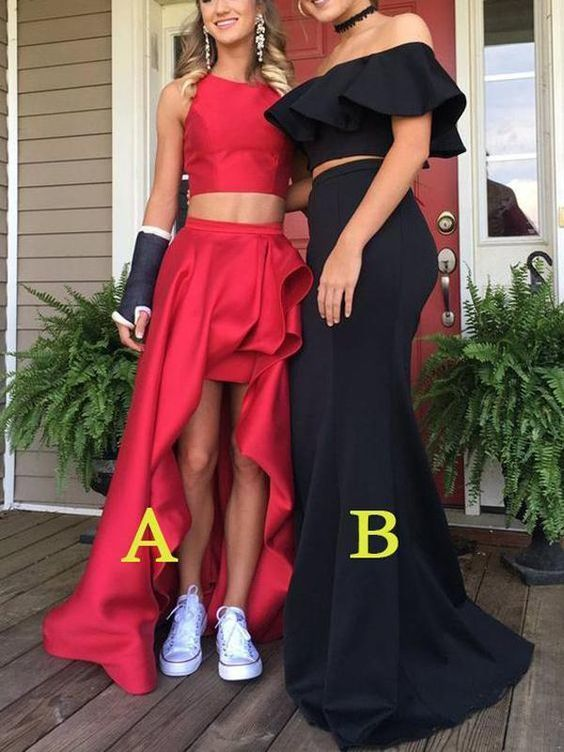 Sexy Two Pieces Red High Low Simple Long Evening Prom Dresses