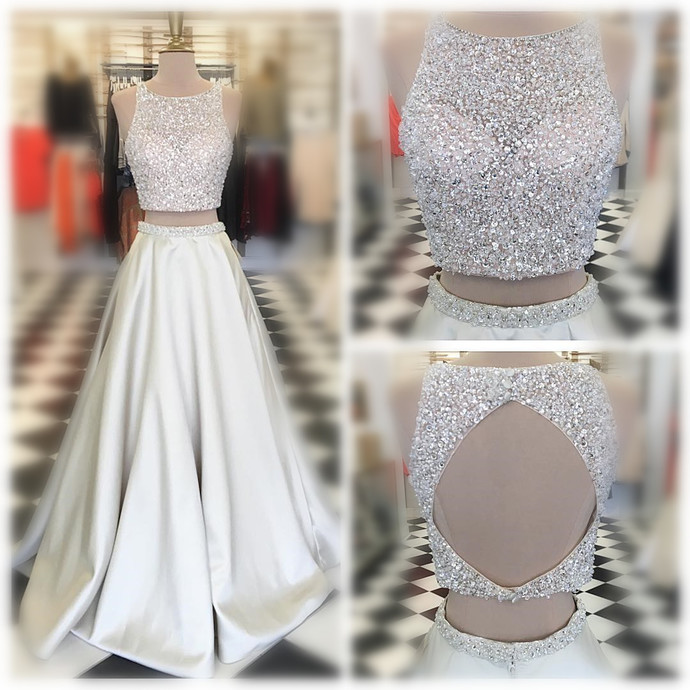 White Satin Prom Dresses Two Piece Long A-line Sleeveless Beasded Evening
