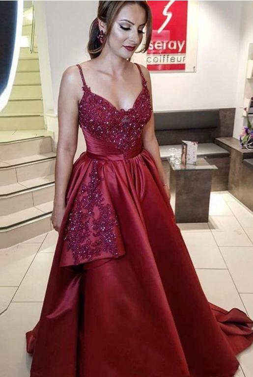 Sexy dark red Burgundy A Line Long arabic Prom Dresses Spaghetti Strap Beaded