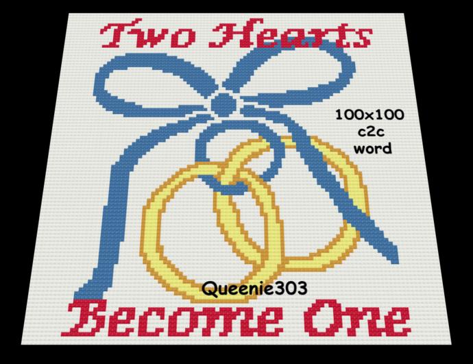 Two Hearts Rings tied 100x100 c2c (CORNER to CORNER)