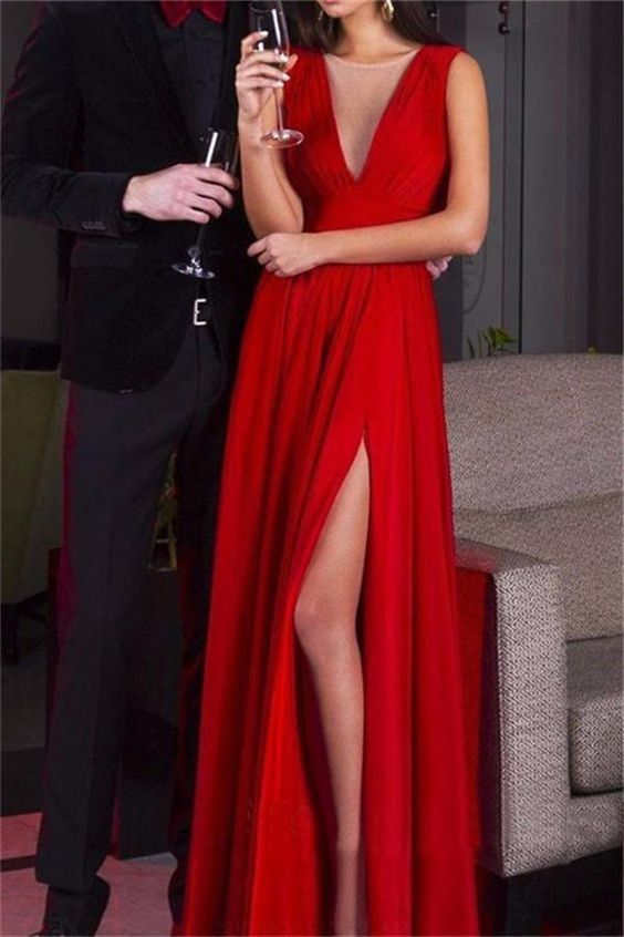 Custom Made Beautiful Red Prom Dresses, Cheap Prom Dresses, Beautiful Prom