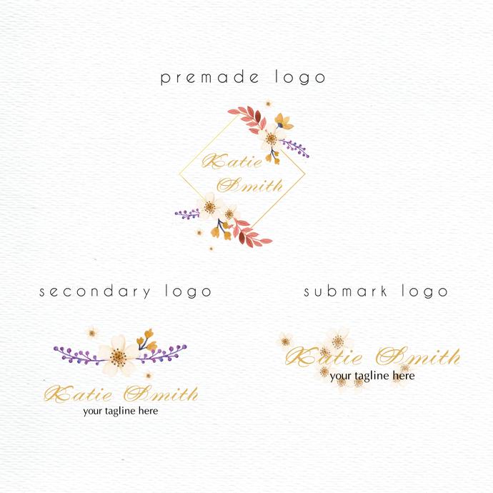 Personalized logo, Logo Design, Watercolor Logo Design, Premade logo, Watercolor