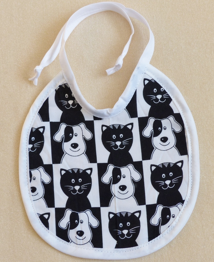 Baby Bib, Black and White Cat and Dog, Cotton Bib, Gift for baby, Baby