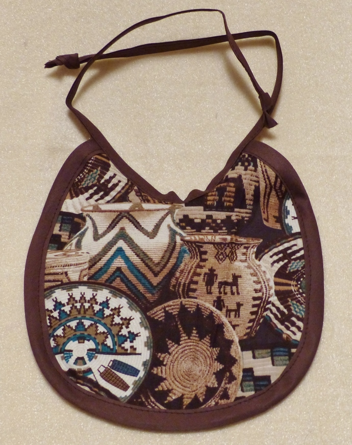 Baby Bib, Southwest Baskets Design fabric, Cotton Bib, Gift for baby boy, Gift