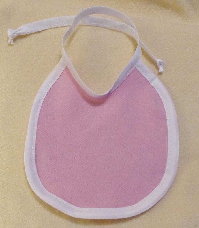 Baby bib, towel bib, pink with white trim, cotton fabric bib, gift for baby