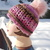 Pink and chocolate Charisma Beanie with handmade ceramic button