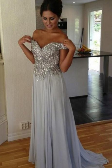 discount 100% genuine best authentic Gray Prom Dresses,Silver Grey Prom Dress,Sexy Prom Dress,Sequined Prom  Dresses, Formal Gown,Chiffon Evening Gowns,A Line Party Dress,Sequin