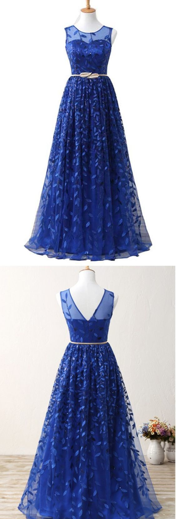Royal Blue Prom Dress Tulle Long Prom dresses Ball Gown Evening Dresses