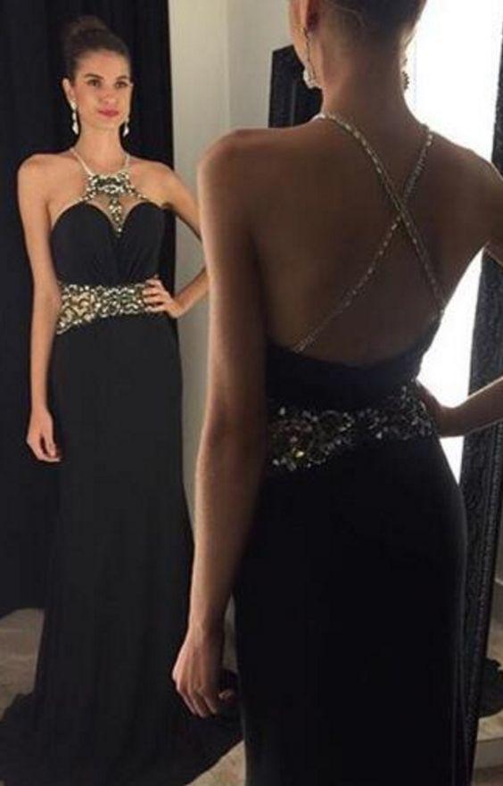 Black Prom Dresses,Elegant Evening Dresses,Long Formal Gowns,Beaded Party