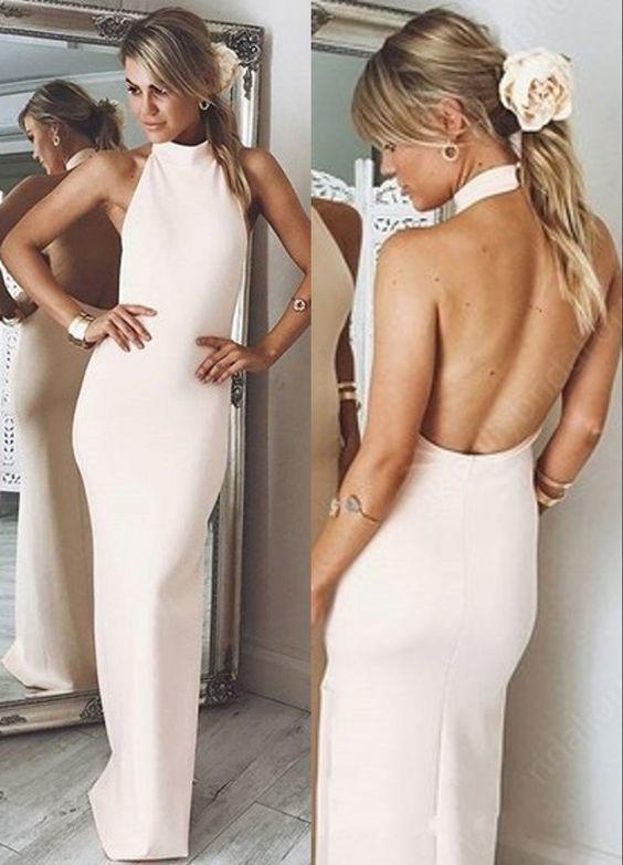 Mermaid Halter Backless Long Pink Prom Dress