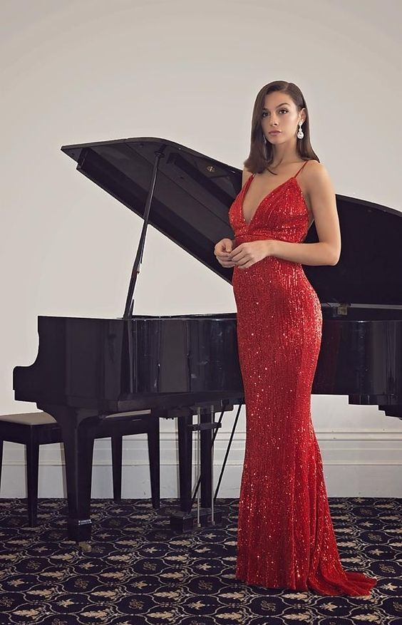 Mermaid Spaghetti Straps Backless Red Sequined Prom Dress