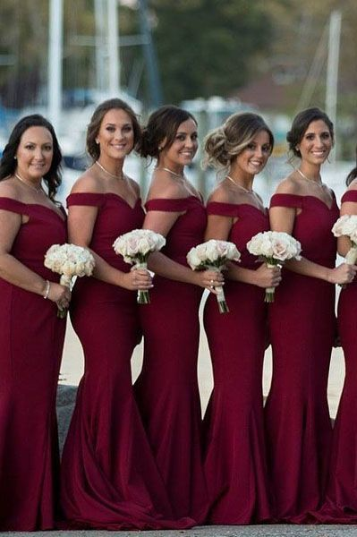 Gorgeous Off the Shoulder Burgundy Mermaid Long Bridesmaid Dress
