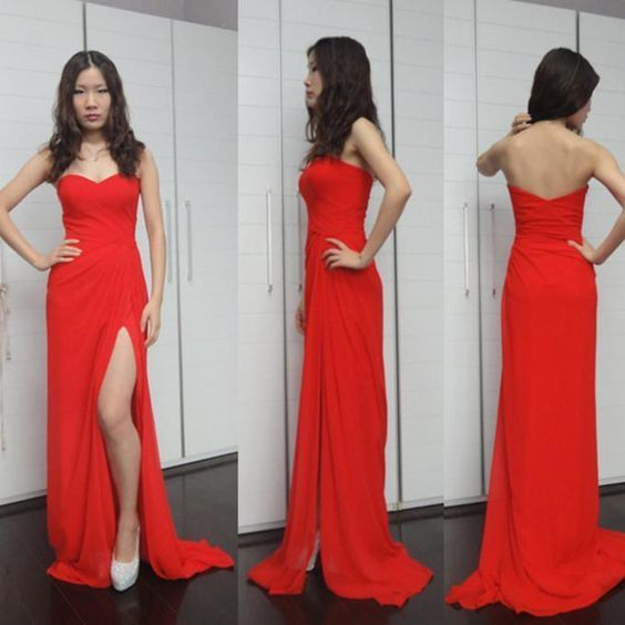 A line Prom Dresses,Princesses Prom Dress,Red Prom Gown,Slit Prom Gowns,Elegant
