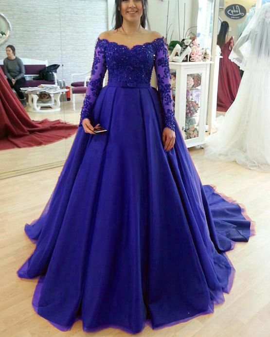 Royal blue Long Sleeves Lace and tulle wedding dresses ball gown with train