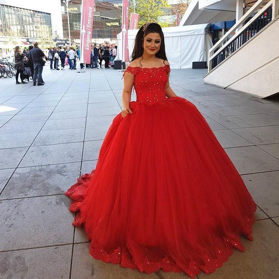 Red Lace Off Shoulder Tulle Ball Gowns Wedding Dresses