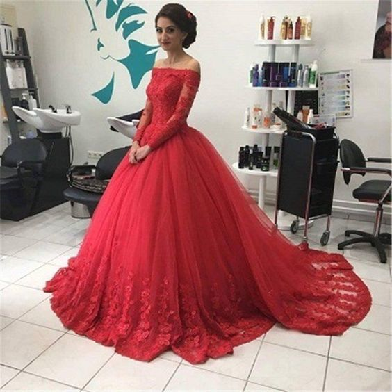 A-line long off shoulder lace prom dress,red evening gown