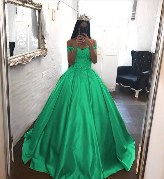Green  Elegant Lace Off The Shoulder Ball Gowns Satin Wedding Dresses