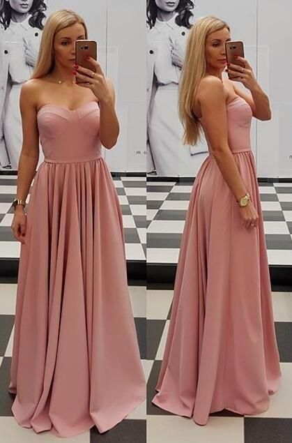 Sweetheart Princess Prom Dress Blush Pink Formal Evening Gown A Line