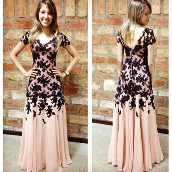 Short Sleeves Prom Dresses Black Lace Buttons Back