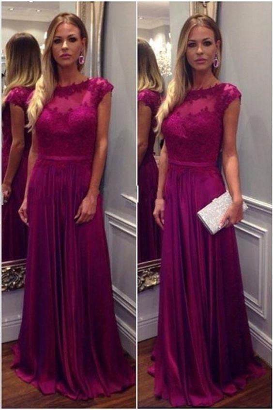 A-line Simple Long Prom Dress With Applique Wedding Party Dress Formal Dress