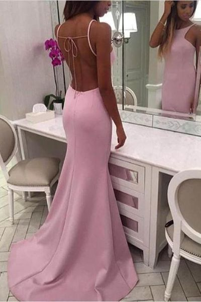 Open Back High Neck Pink Spaghetti Straps Mermaid Long Prom Dresses Formal