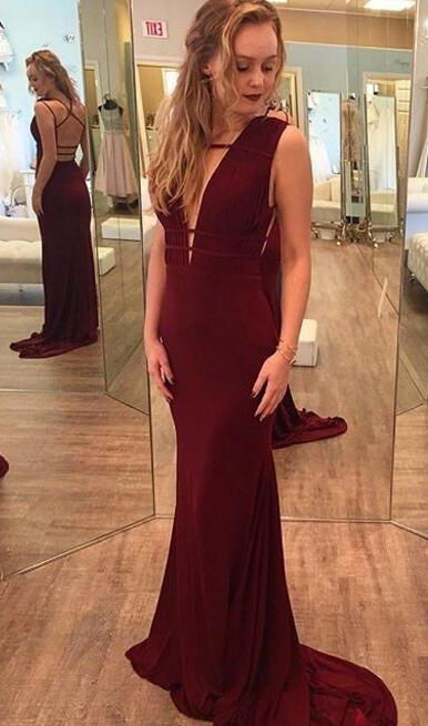 Special Burgundy Prom Dress - Mermaid Deep V Neck Sweep Train Backless