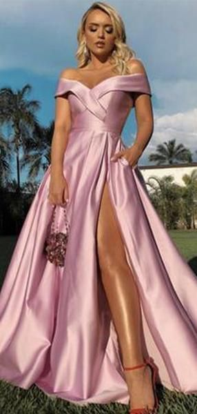 Off Shoulder Long A-line Pink Side Slit Prom Dresses,