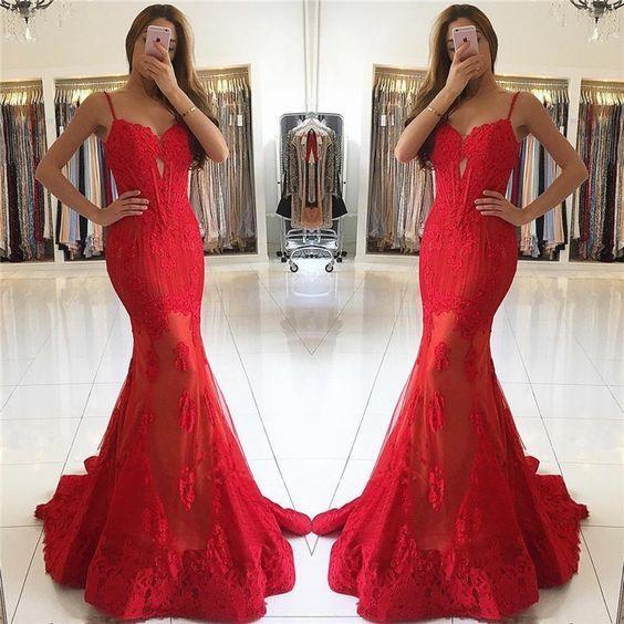 formal spaghetti straps mermaid red long evening dress,
