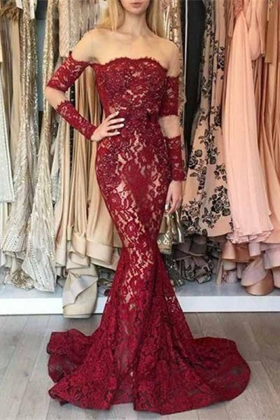 Mermaid Illusion Bateau Sweep Train Dark Red Lace Prom Dress