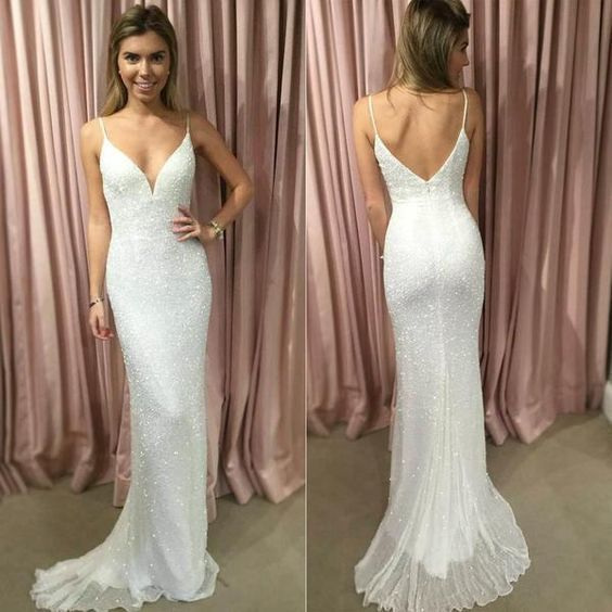 Sheath Spaghetti Straps Sweep Train White Sequined Lace Long Prom Dress