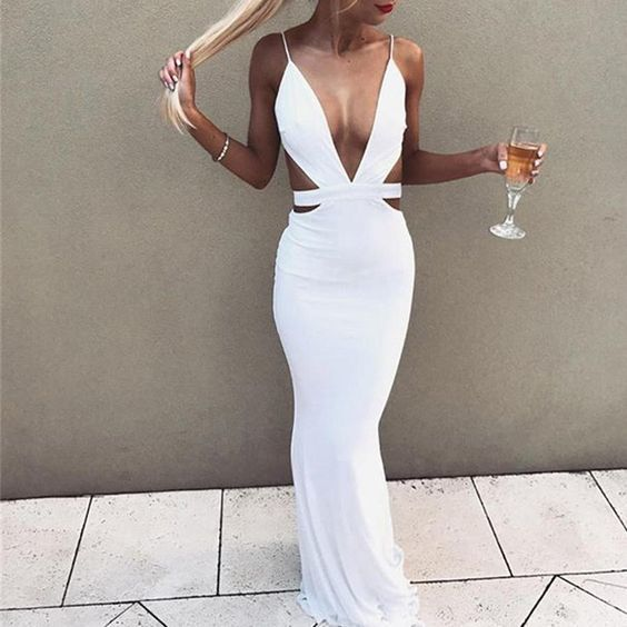 Cut Out Halter Neck Backless Long White Mermaid Maxi Dress ,sexy prom dress