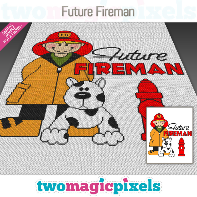 Future Fireman crochet graph (Mini C2C, SC, HDC, DC, TSS), cross stitch;