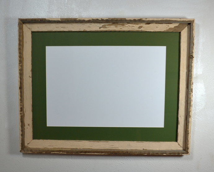 13x19 green mat in 18x24 reclaimed wood shabby chic poster frame