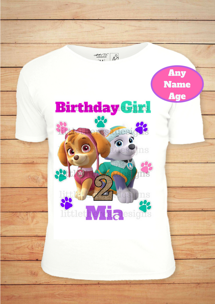 Paw Patrol Birthday Girl Shirt Iron On Transfer Personalized