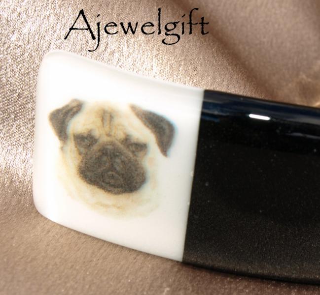 Pug Dog Fused Glass Barrette 103004