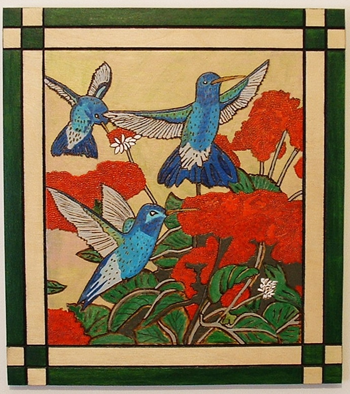 Humming Birds, Wood Wall Art, Summer Feeding, Framed Wall Decor