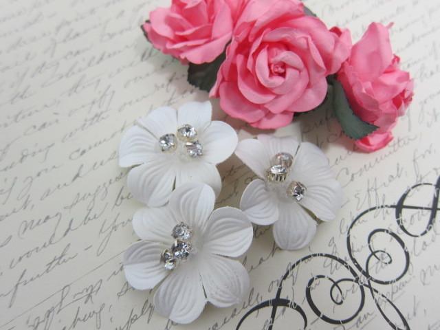3pcs Leather Flower  - White/Mint, Victorian Rose, Tan, Brown, Terracotta, White
