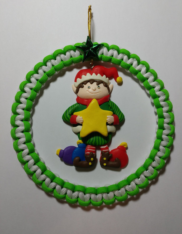Paracord Christmas Elf Wreath Ornament, Christmas Decoration, Christmas Tree