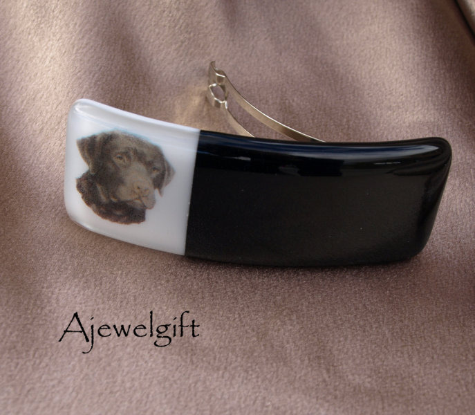 Chocolate Lab Fused Glass Barrette
