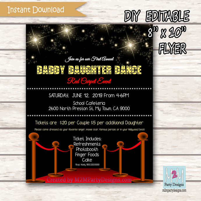 Daddy Daughter Dance Invitation, Movie Night Invitation. DD Dance Invite.
